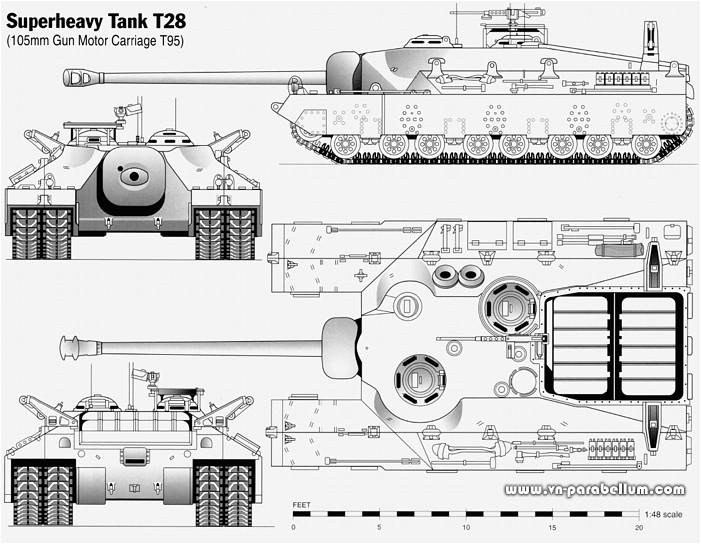 ттх - сврехтяжёлый танк Т28 / САУ Т95. Super Heavy Tank T28 - Gun ...